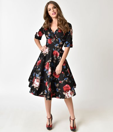 UNIQUE VINTAGE 1950s Black and Red Floral Delores Swing Dress