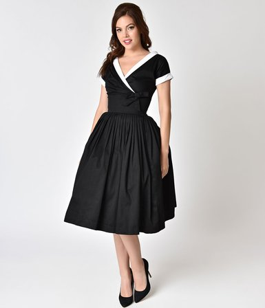 UNIQUE VINTAGE 1950s Style Black Cap Sleeve Pleated Waldorf Swing Dress Last One Size 16
