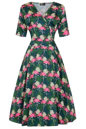 LADY VINTAGE Estella Dress Flamingo