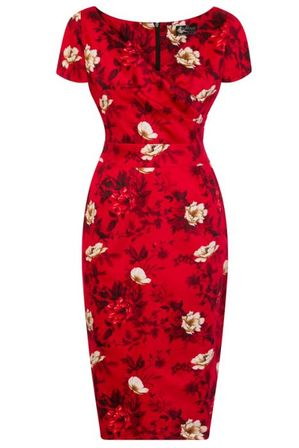 LADY VINTAGE Ursula Dress Wild Roses on Scarlet