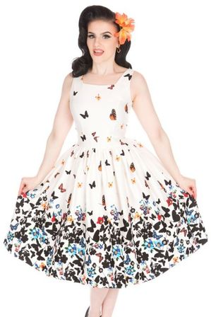 LADY VINTAGE Dirdle Dress White Butterfly
