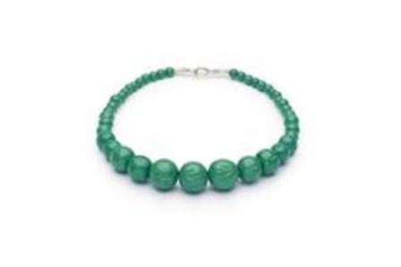 SPLENDETTE Carved Malachite Fakelite Bead Necklace