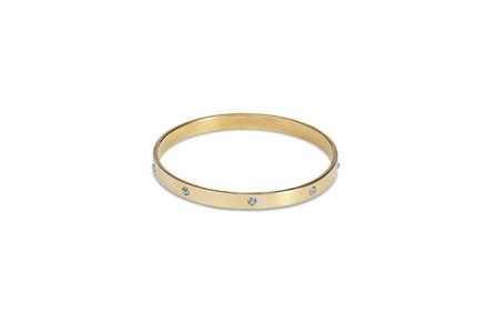 SPLENDETTE Gold Bangle With Baby Blue Diamantes