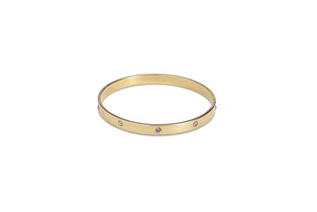 SPLENDETTE Gold Bangle With Dusty Pink Diamantes