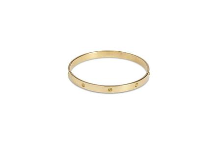 SPLENDETTE Gold Bangle With Champagne Diamantes
