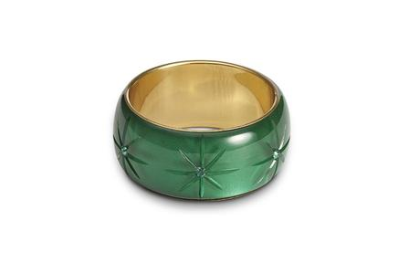 SPLENDETTE Extra Wide Emerald Moonglow Bangle