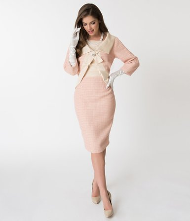 UNIQUE VINTAGE Barbie X Unique Vintage Pink Fashion Luncheon Sheath Dress and Jacket