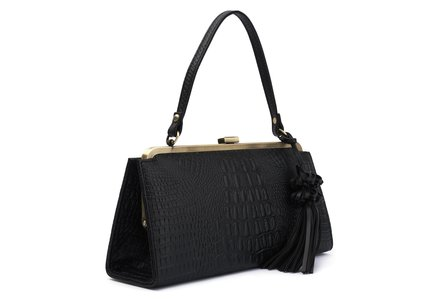 BETTIE PAGE BAGS BY LOLA RAMONA Betty Beauty Black Croco