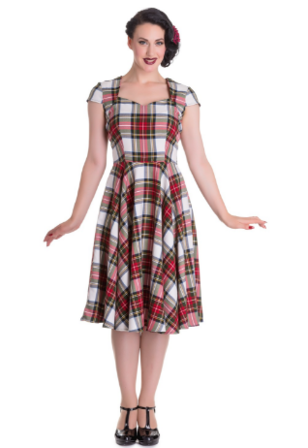 HELL BUNNY Aberdeen Dress Stewart Tartan Last One Size 10