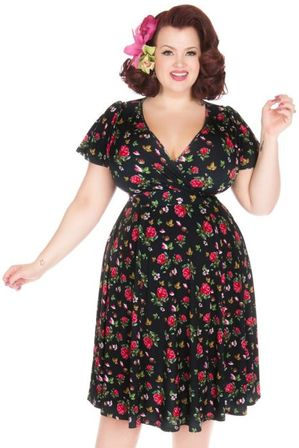 LADY VINTAGE Lyra Dress Petite Roses On Black