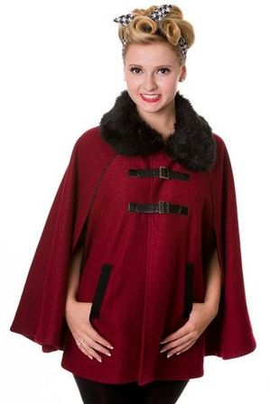 BANNED APPAREL Vintage Retro 1940s Style Cape Burgundy