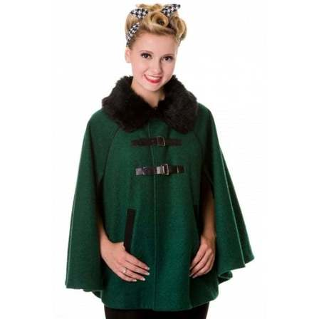 BANNED APPAREL Vintage Retro 1940s Style Cape Green