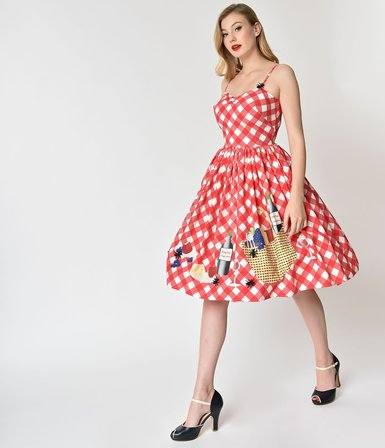 5510c034378 UNIQUE VINTAGE 1950s Style Red and White Checkered Picnic Blanket Darcy  Swing Dress
