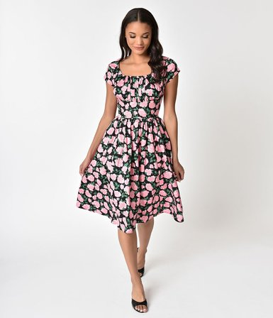 547293fb12e UNIQUE VINTAGE Black and Pink Rose Cap Sleeve Valencia Swing Dress