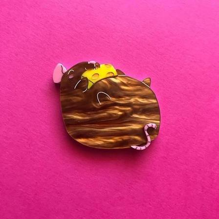 DAISY JEAN FLORAL Brown Fat Rat Brooch