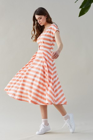 EMILY AND FIN Jodie Peach Stripe Midi Day Dress Peachy Keen Stripe