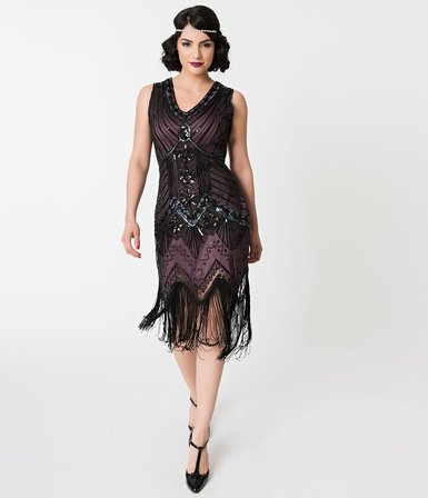 a828231e48c UNIQUE VINTAGE 1920s Deco Purple and Black Sequin Veronique Fringe Flapper  Dress
