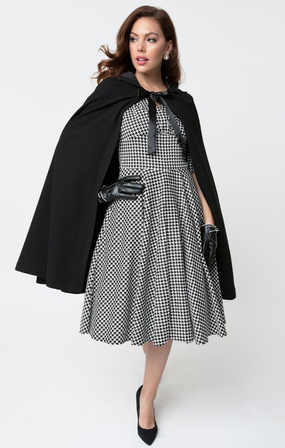 UNIQUE VINTAGE 1940s Style Black Stevie Hooded Cape Coat