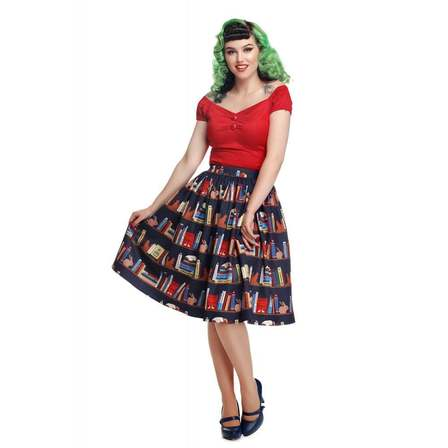 Collectif Jasmine Book Shelf Swing Skirt