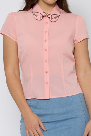 REVIVAL Flamingo Lovers Blouse Aqua