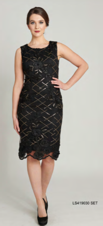 LA SCALA Viviana Dress With Jacket Set Black And Gold