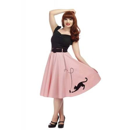 COLLECTIF Kitty Cat Swing Skirt Pink Last One Size 18