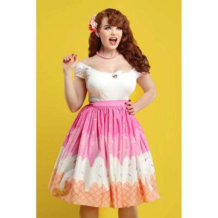 COLLECTIF Jasmine Ice Cream Swing Skirt