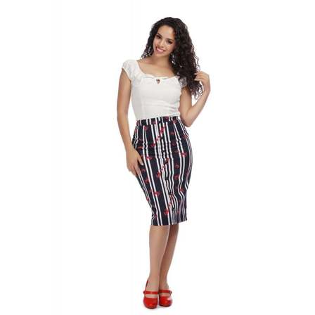 COLLECTIF Bettina Crabs and Stripes Pencil Skirt