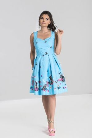 HELL BUNNY Cotton Tail Mid Dress Blue