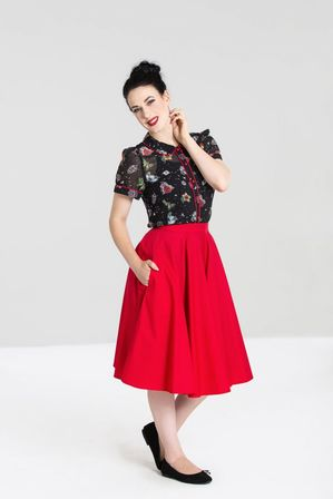 HELL BUNNY Paula Skirt Red
