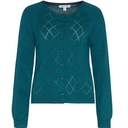 EMILY AND FIN Tess Pointelle Cardigan Dark Green Last One Size 14
