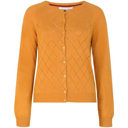 EMILY AND FIN Tess Pointelle Cardigan in Golden Ochre Last One Size 12