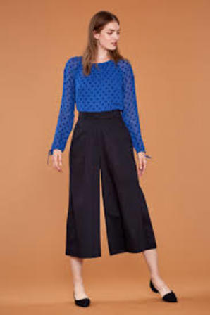 EMILY AND FIN Lori Wide Leg Culotte Black Cotton Sateen