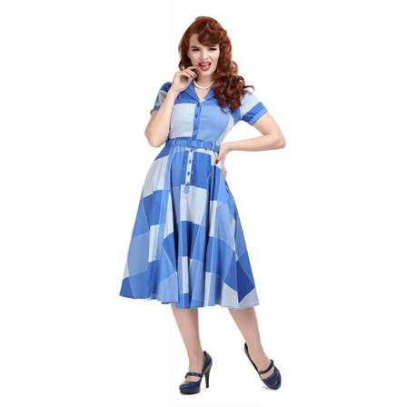 COLLECTIF Caterina Blue Check Swing Dress