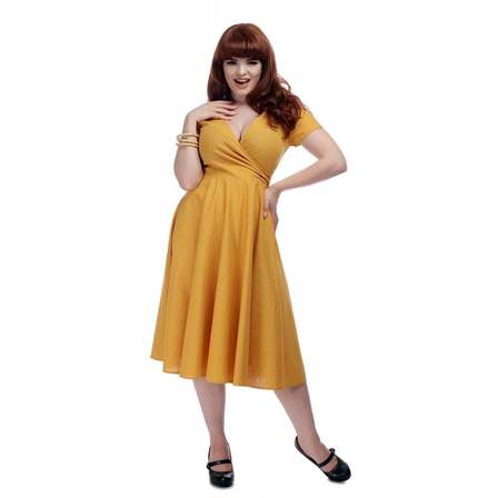 COLLECTIF Vintage Maria plain Swing Mustard