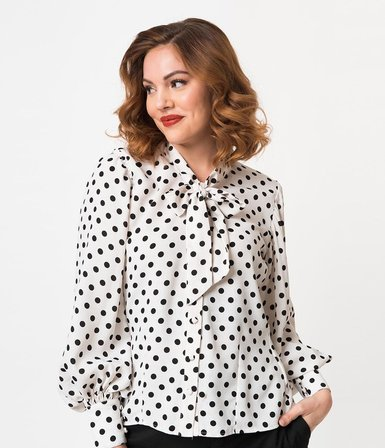 7a8dbfb284e8c2 An eye-catching separate with vintage glamour, the Gwen Blouse from Unique  Vintage will get your opinion heard. Crafted in a lightweight crepe, ...