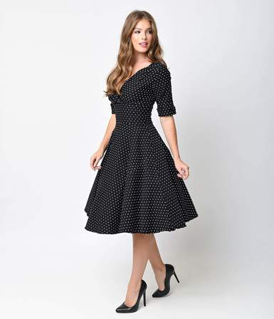 UNIQUE VINTAGE  1950s Black & White Dot Delores Swing Dress with Sleeves
