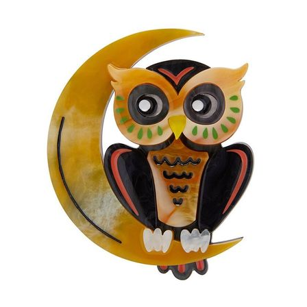 ERSTWILDER A Moon With View Owl Brooch