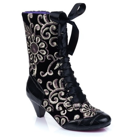 IRREGULAR CHOICE Lady Victoria Black Floral Boots