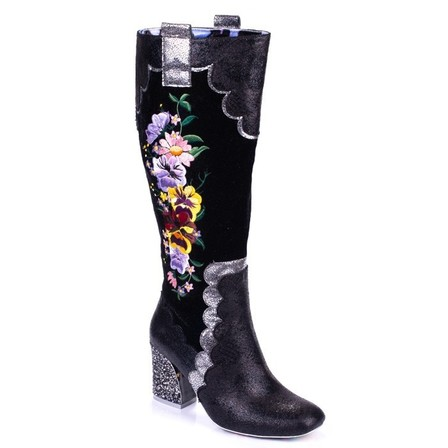 IRREGULAR CHOICE Petal Royal Black Full Length Boots
