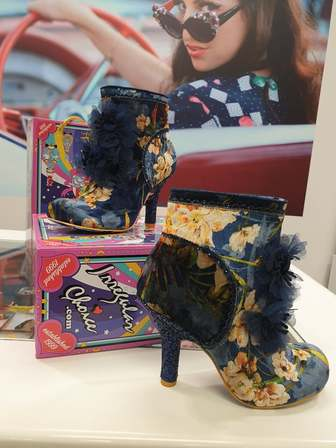 IRREGULAR CHOICE Queen Velvet Booties Blue