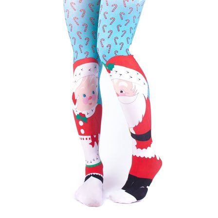 IRREGULAR CHOICE Christmas Tights Blue Mr And Mrs Kringle