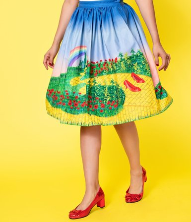 UNIQUE VINTAGE Yellow Brick Road Print High Waist Swing Skirt