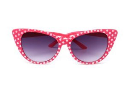 Retro Sunglasses Pink With White Polkadots Cat Eye