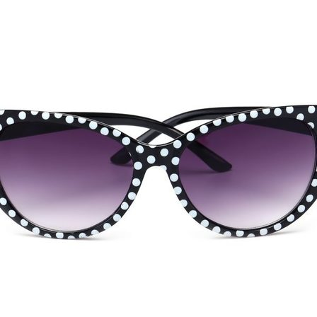 Retro Sunglasses Black With White Polkas Cat Eye