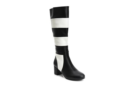 LOLA RAMONA Eve Queen Of Hearts Full Length Black And White Striped Boots