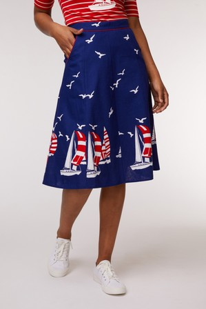 REVIVAL Ships Ahoy Skirt Dark Blue
