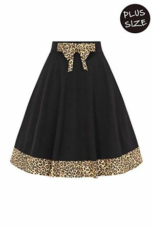 BANNED APPAREL  Rock N Roll Leopard Trim Black Swing Skirt