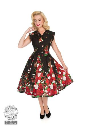HEARTS & ROSES LONDON Black Floral Shirtwaist Dress