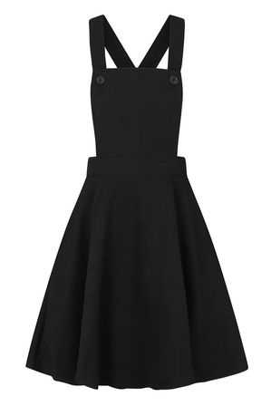 HELL BUNNY Amelie Pinafore Black